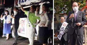 野党の県連幹部らとガンバローコールで結束を誓う末次候補(右から2番目)=佐世保市(写真左) 北村候補の出陣式で激励する朝長市長(右)=佐世保市