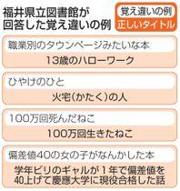 福井県立図書館が回答した覚え違いの例