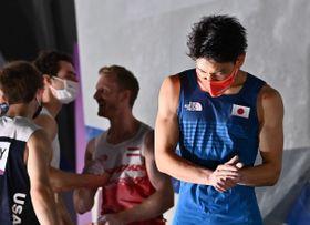 スポーツクライミング男子複合で4位に終わった楢崎智亜=5日午後10時、青海アーバンスポーツパーク