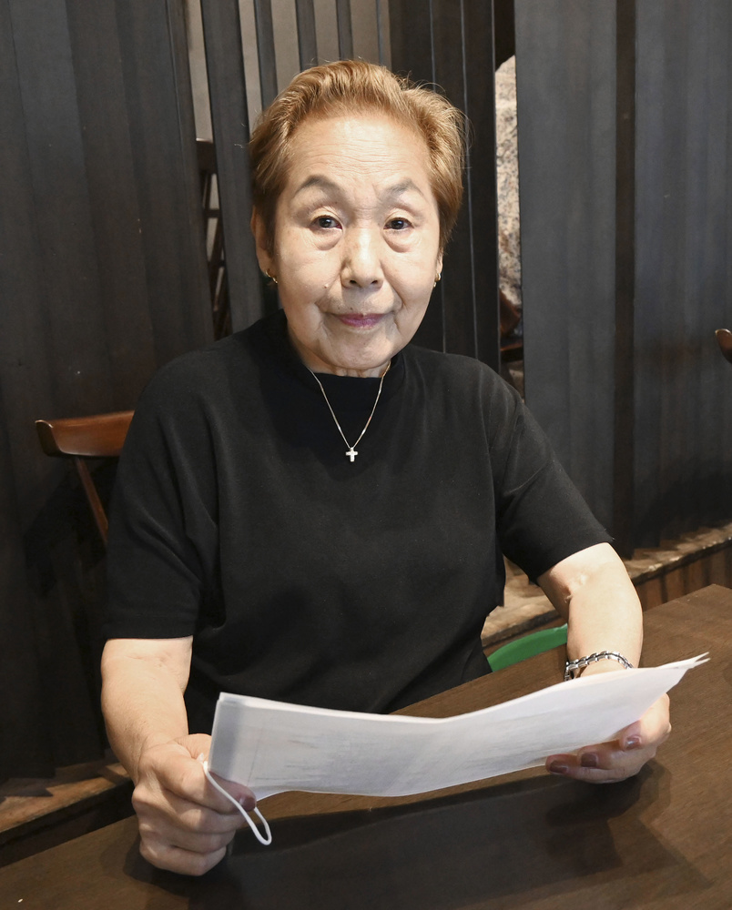 1964年東京五輪で来日した北朝鮮選手団の思い出を語る鄭勝子さん=6月、東京都北区