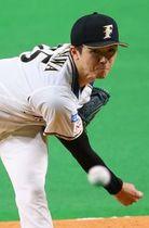 6回3失点の安定した投球で12勝目を挙げた上沢(大島拓人撮影)