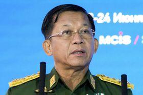 ミャンマー国軍トップのミン・アウン・フライン総司令官=6月23日、モスクワ(AP=共同)