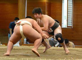【相撲個人】全勝して優勝した岸本一路(右)