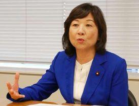 エネルギー政策や地方創生について持論を述べる野田聖子幹事長代行=23日、国会内