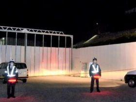 作業事故が発生したリニア中央新幹線瀬戸トンネルの工事現場入り口=27日午後9時30分、中津川市瀬戸
