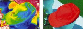サーモグラフィーで測定した帽子の表面温度の画像。赤の帽子は大半の部分が高温であることを示す緑色や黄色となっている=服部由季夫さん提供