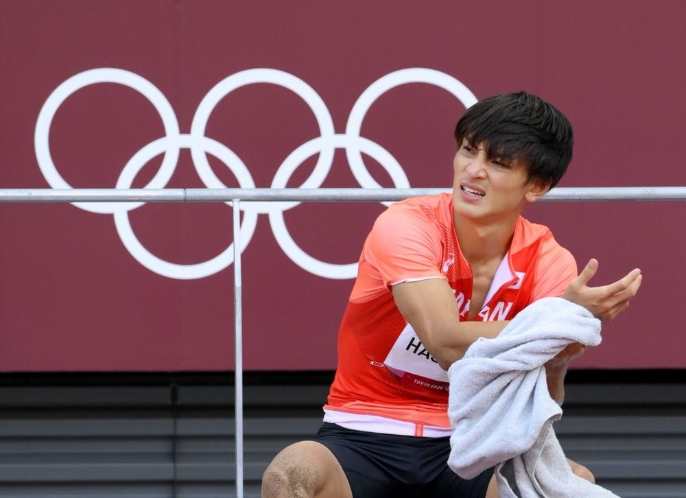 男子走り幅跳びで6位だった橋岡優輝=国立競技場