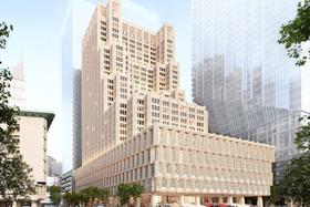 田根剛氏による帝国ホテル東京新本館の完成イメージ(田根氏の設計事務所、Atelier Tsuyoshi Tane Architects提供)