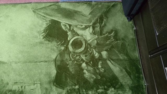 絨毯に描かれた『ルパン三世』の次元大介(写真提供:あぎとぅさん)
