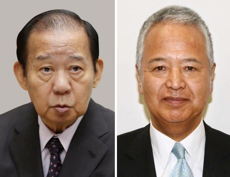 自民党の二階俊博幹事長(左)、甘利明税制調査会長