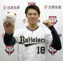 プロ野球の「日本生命セ・パ交流戦」でMVPに選ばれポーズをとるオリックスの山本由伸投手=17日、大阪市