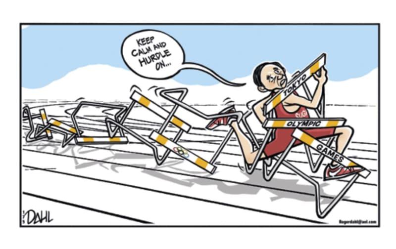 「TOON IN!」に収められた風刺画、菅首相が「五輪」などと書かれた陸上競技のハードル(障害)に引っ掛かっている(共同)