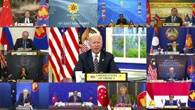 27日、オンライン形式の東アジアサミットで話すバイデン米大統領(ブルネイ政府提供・AP=共同)