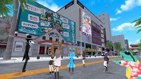 バーチャルOKINAWAのアーニーパイル国際劇場(左)