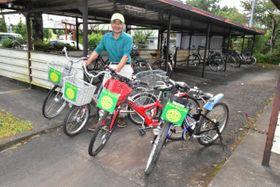 住民から寄付された無料レンタサイクル事業の自転車