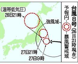 台風8号の予想進路(26日21時現在)