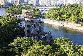 被爆76年を迎えた平和記念公園(6日午前7時37分)