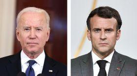 バイデン米大統領(ゲッティ=共同)、フランスのマクロン大統領(ロイター=共同)