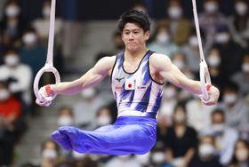男子個人総合決勝 橋本大輝のつり輪=北九州市立総合体育館