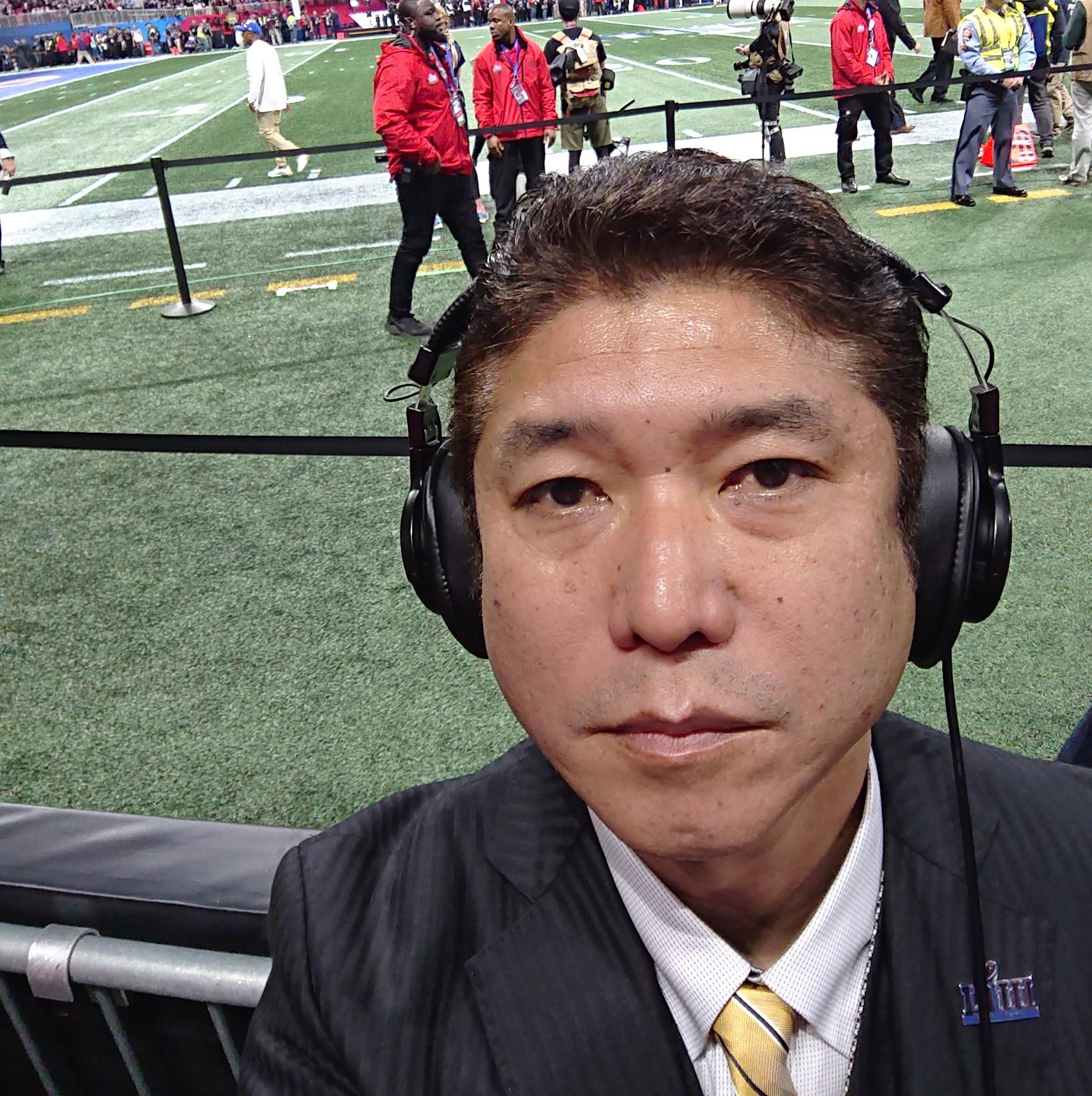 スーパーボウルのテレビ中継で、フィールドリポーターを務めた生沢浩さん
