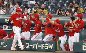 4回、先制本塁打を放ちナインに迎えられる広島・鈴木誠(左端)=甲子園