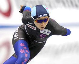 女子1500メートル 優勝した高木美帆=長野市エムウェーブ